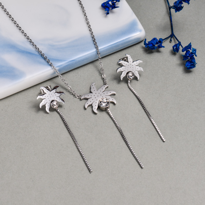 Stainless Steel Palm Tree Jewelry Sets -SSCSG143-9410-S