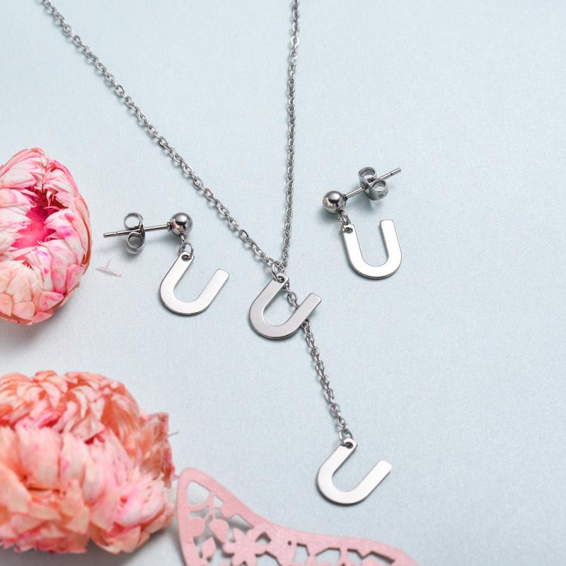 Conjunto de joyas de acero inoxidable para mujer al por mayor -SSCSG126-33382