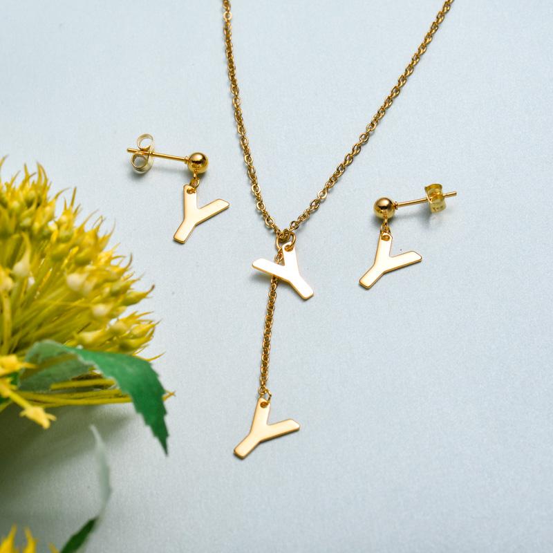 Conjunto de joyas de acero inoxidable para mujer al por mayor -SSCSG126-33417