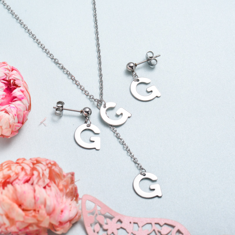 Conjunto de joyas de acero inoxidable para mujer al por mayor -SSCSG126-33380