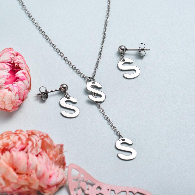 Conjunto de joyas de acero inoxidable para mujer al por mayor -SSCSG126-33381