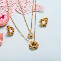 Conjunto de joyas de acero inoxidable para mujer al por mayor -SSCSG126-33354