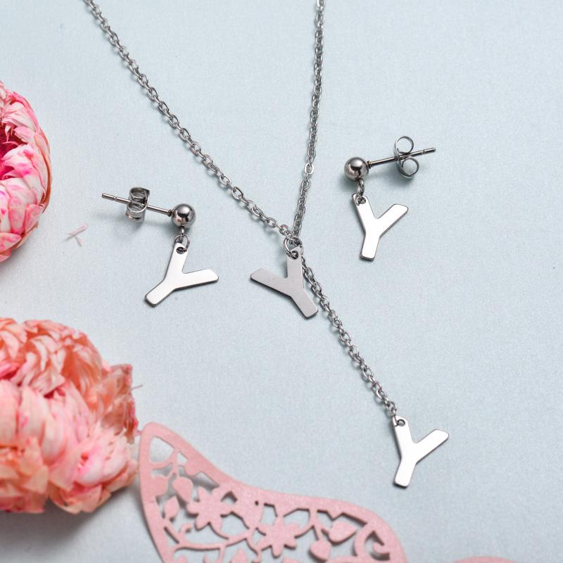 Conjunto de joyas de acero inoxidable para mujer al por mayor -SSCSG126-33377