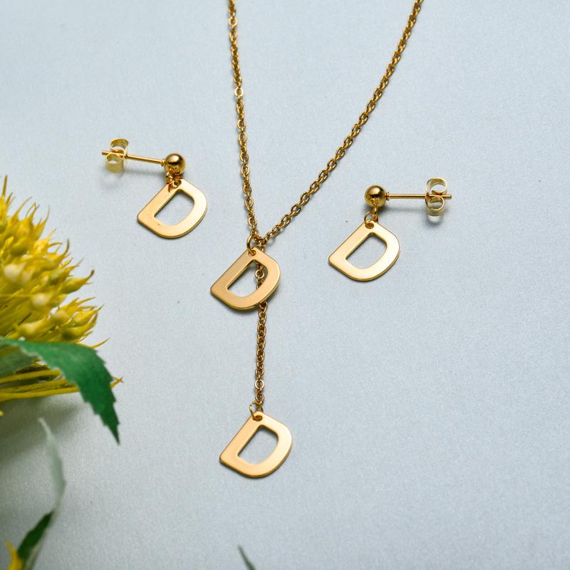 Conjunto de joyas de acero inoxidable para mujer al por mayor -SSCSG126-33411