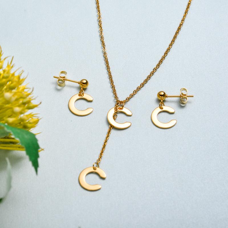 Conjunto de joyas de acero inoxidable para mujer al por mayor -SSCSG126-33421