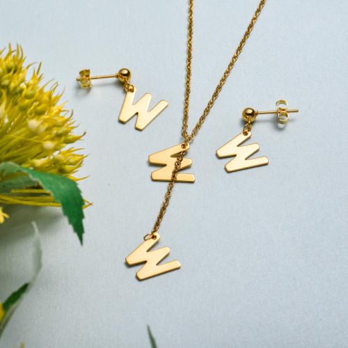 Conjunto de joyas de acero inoxidable para mujer al por mayor -SSCSG126-33423