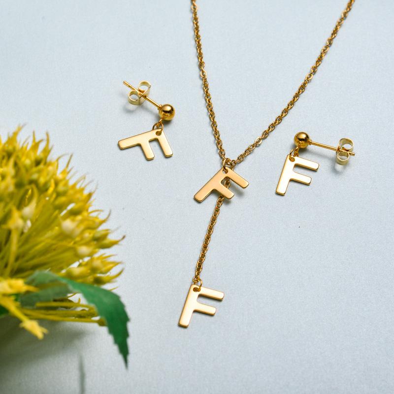 Conjunto de joyas de acero inoxidable para mujer al por mayor -SSCSG126-33415