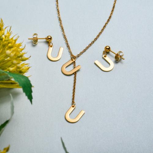 Conjunto de joyas de acero inoxidable para mujer al por mayor -SSCSG126-33428
