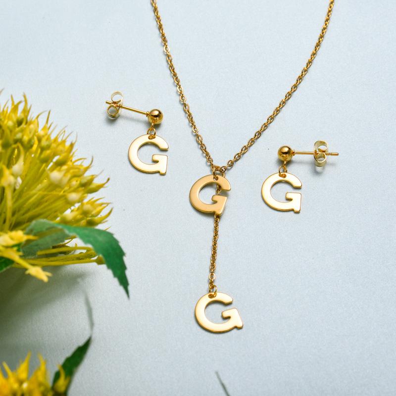 Conjunto de joyas de acero inoxidable para mujer al por mayor -SSCSG126-33413