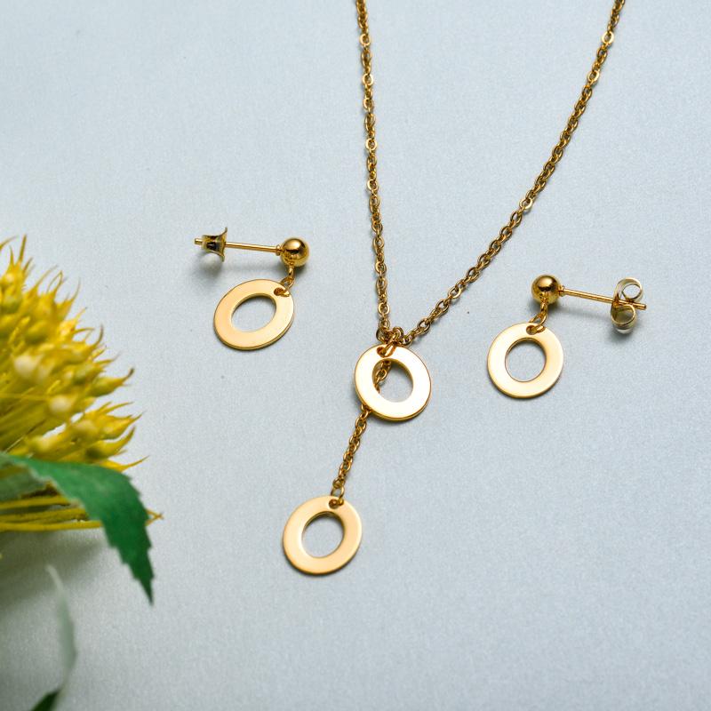 Conjunto de joyas de acero inoxidable para mujer al por mayor -SSCSG126-33414
