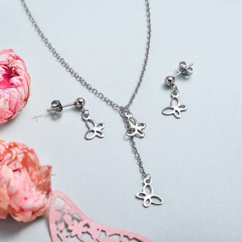 Conjunto de joyas de acero inoxidable para mujer al por mayor -SSCSG126-33375