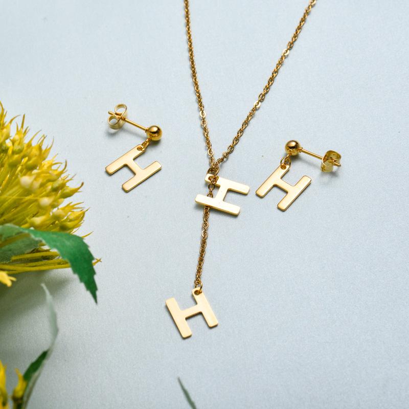 Conjunto de joyas de acero inoxidable para mujer al por mayor -SSCSG126-33410