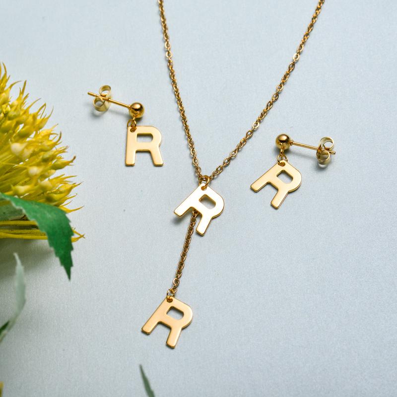 Conjunto de joyas de acero inoxidable para mujer al por mayor -SSCSG126-33418