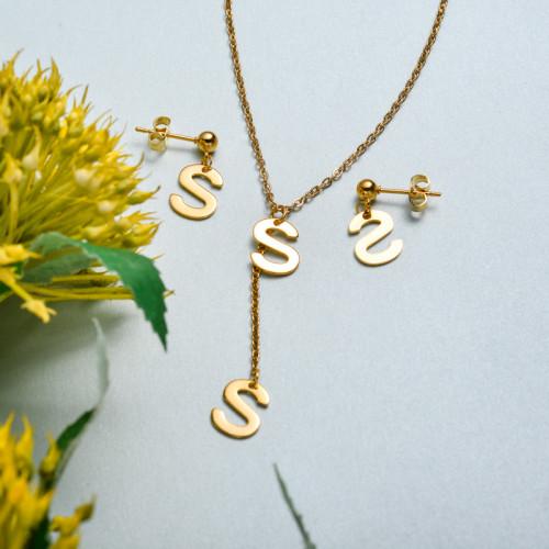 Conjunto de joyas de acero inoxidable para mujer al por mayor -SSCSG126-33425