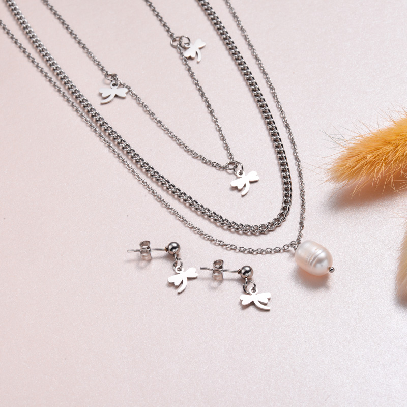Stainless Steel Dragonfly Necklace Sets -SSCSG143-32978