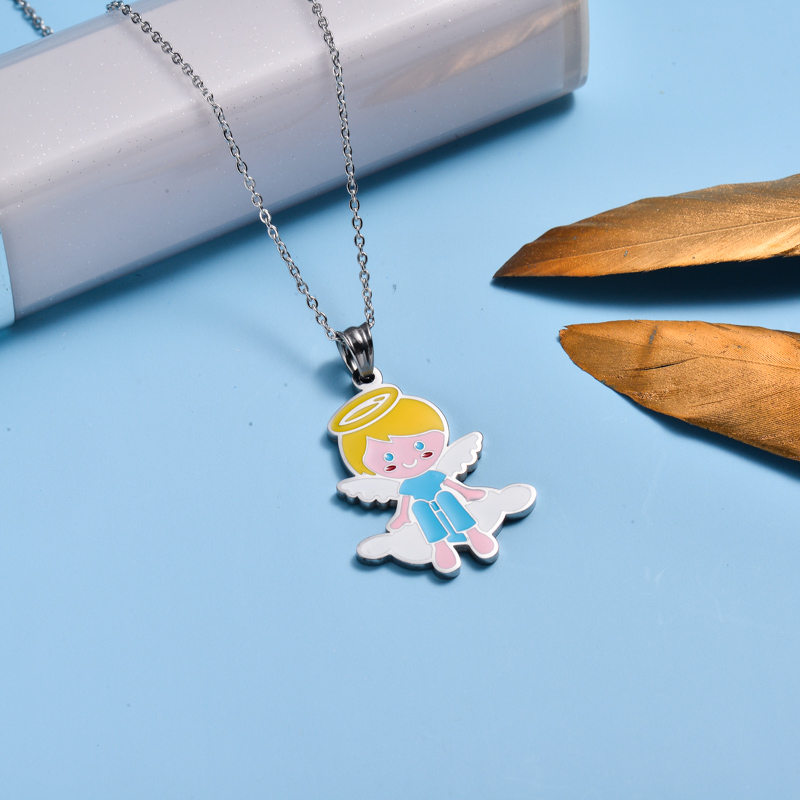 Stainless Steel Enamel Cute Pendant Necklace for Kids -SSNEG143-33033