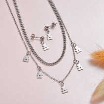 Stainless Steel Bear Necklace Sets -SSCSG143-32977