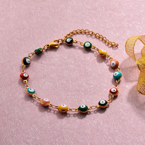 18k Gold Plated Evil Eye Link Chain Bracelets -SSBTG143-32773