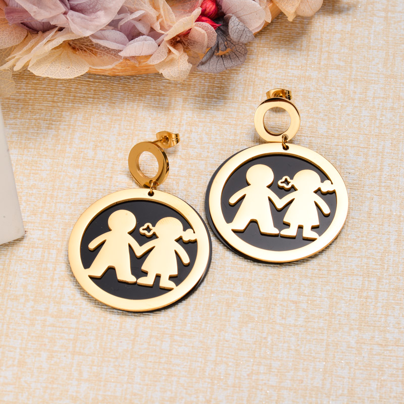 18k Gold Plated Black Drop Earrings -SSEGG143-32866