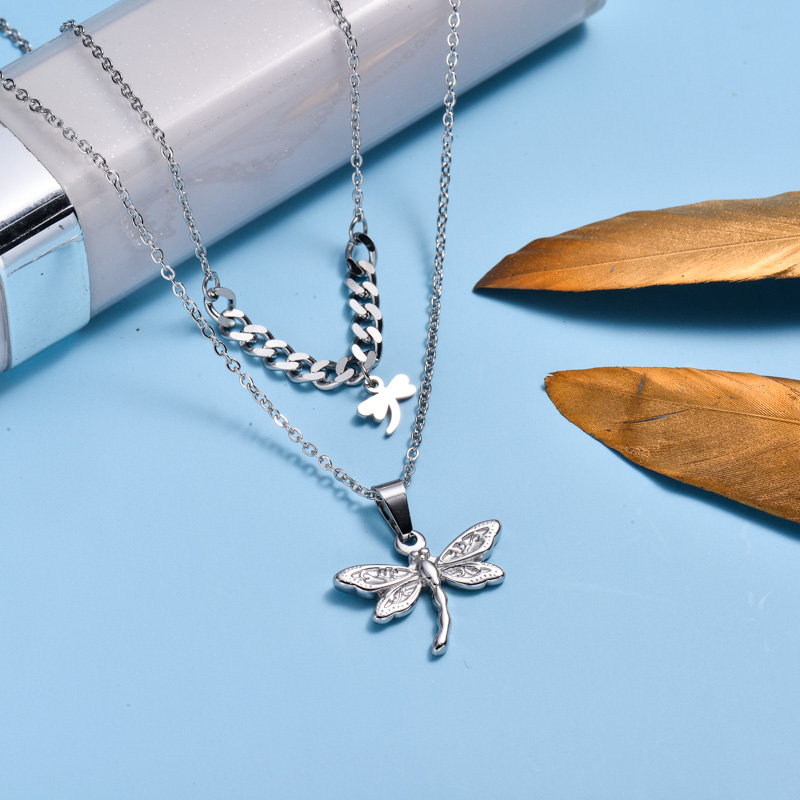 Stainless Steel Dragonfly Layered Necklace -SSNEG142-33026