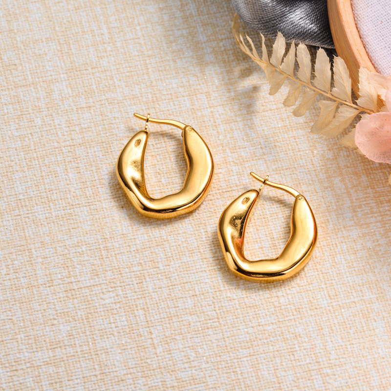 18k Gold Plated French Style Hoop Earrings -SSEGG143-32868