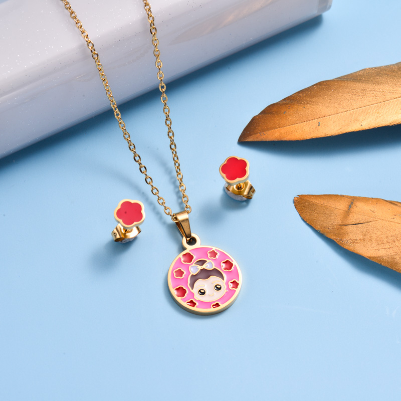Stainless Steel Enamel Cute Jewelry Sets for Children -SSCSG143-33042