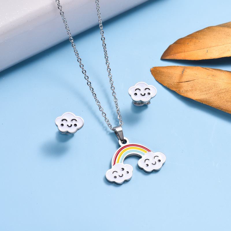 Stainless Steel Enamel Cute Jewelry Sets for Children -SSCSG143-33040