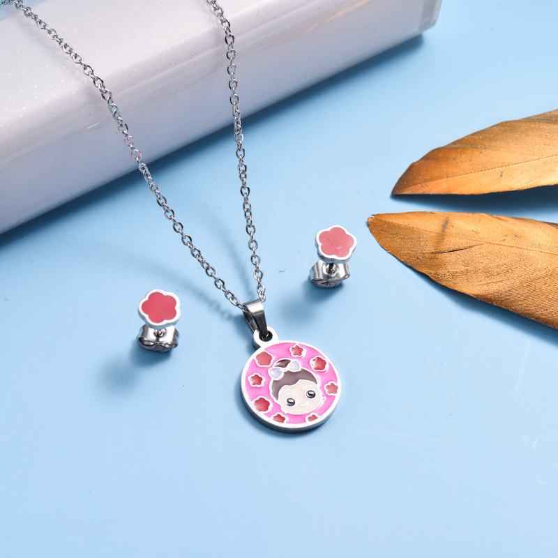 Stainless Steel Enamel Cute Jewelry Sets for Children -SSCSG143-33038
