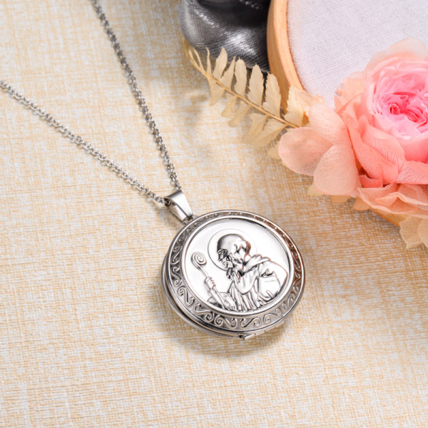 Stainless Steel Lock Pendant Necklace -SSNEG143-32869