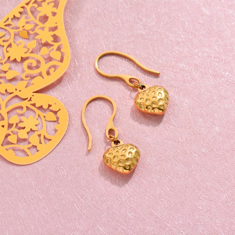 18k Gold Plated Strawberry Heart Drop Earrings -SSEGG143-32814