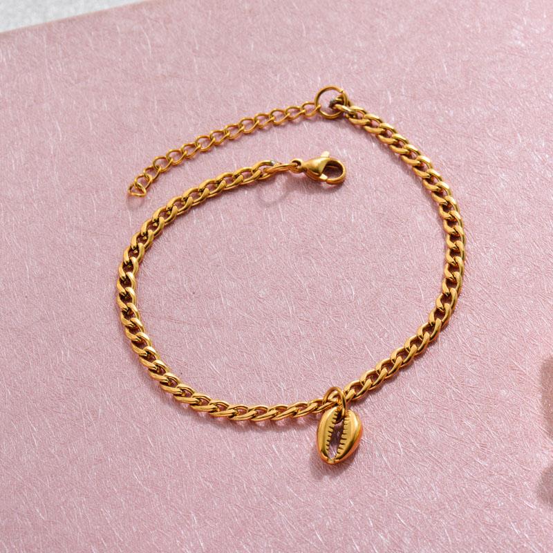 18k Gold Plated Beach Marine Charm Bracelets -SSBTG143-32786