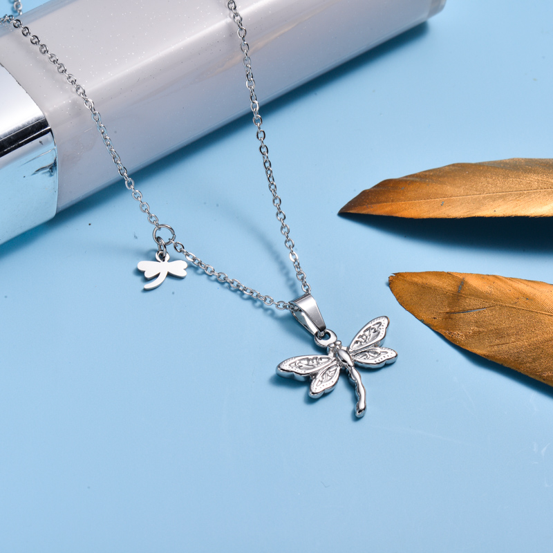 Stainless Steel Dragonfly Pendant Necklace -SSNEG143-33023