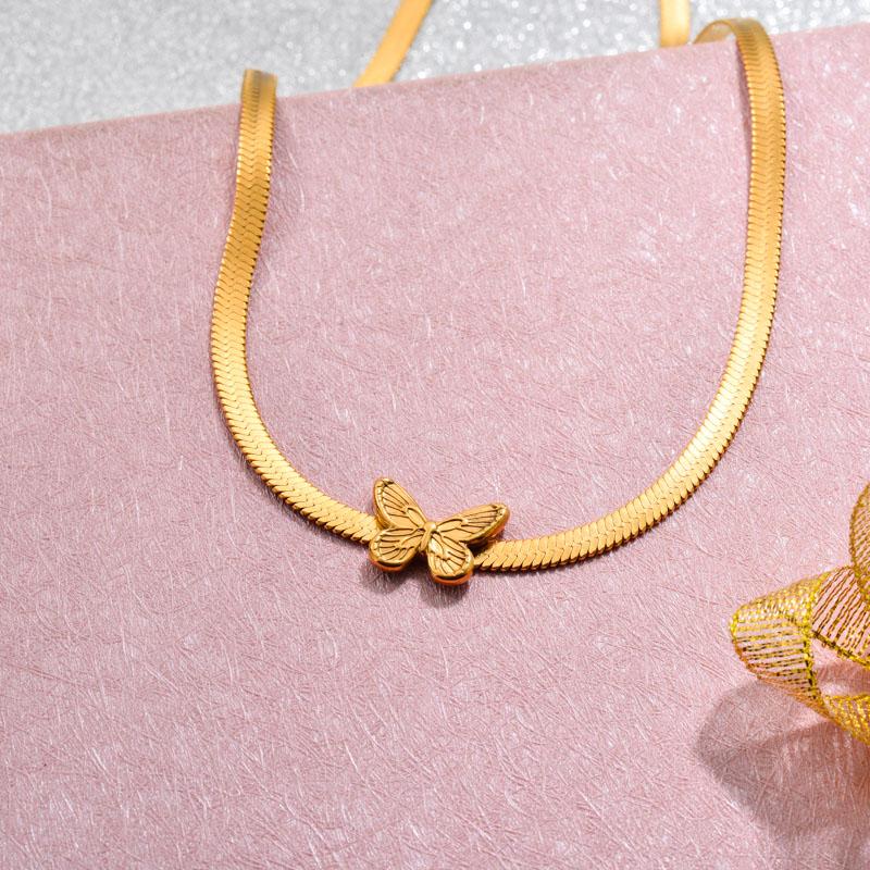 18k Gold Plated Butterfly Choker Necklace -SSNEG143-32776
