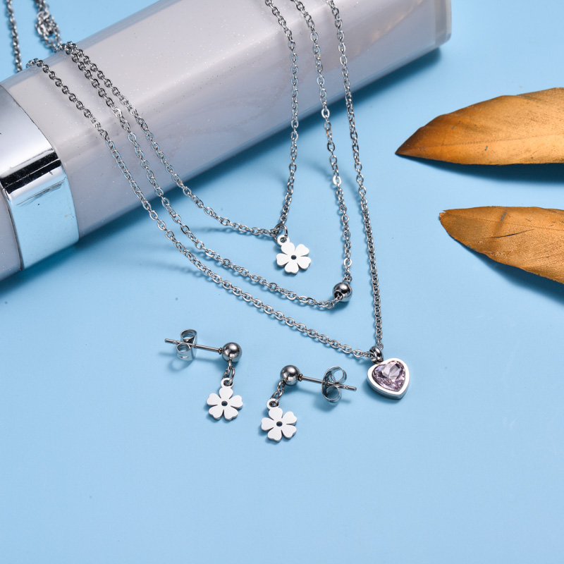 Stainless Steel Dainty Flower Jewelry Sets -SSCSG143-32985