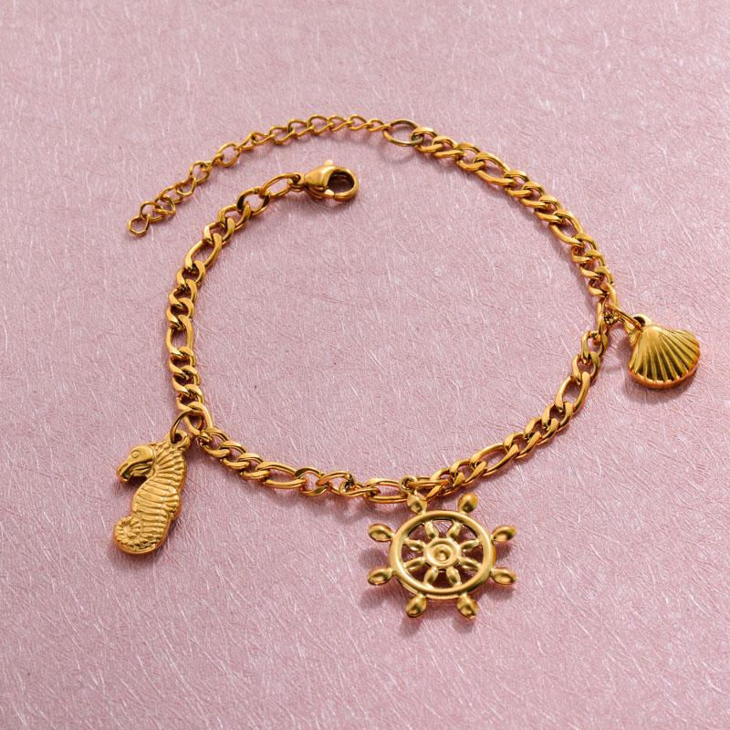 18k Gold Plated Beach Marine Charm Bracelets -SSBTG143-32792