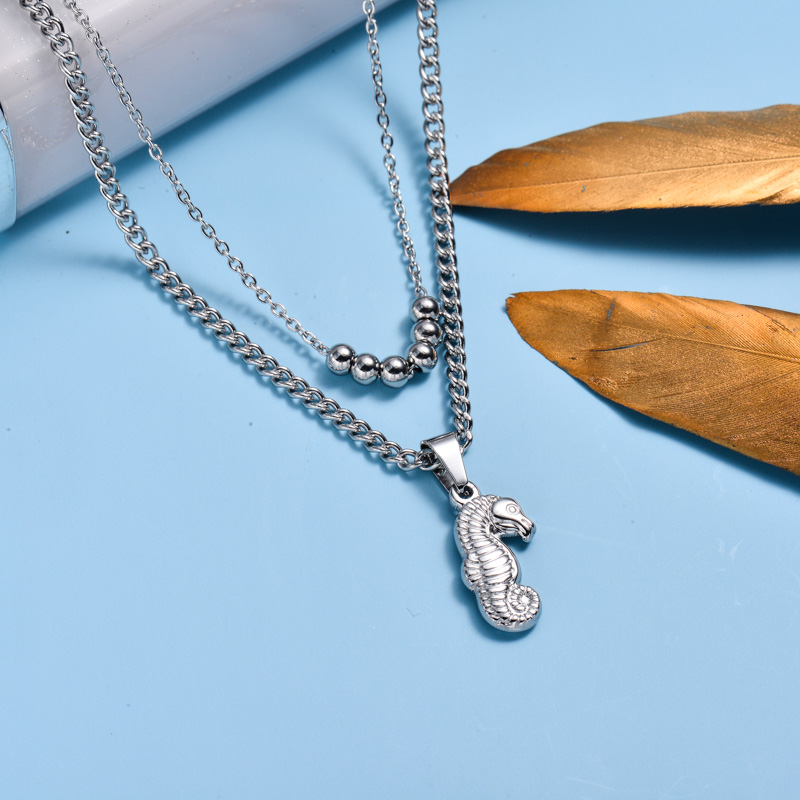 Stainless Steel Marine Beach Style Pendant Necklace -SSNEG143-33024