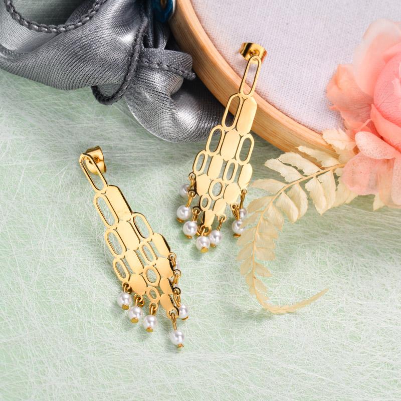18k Gold Plated Tassel Drop Earrings -SSEGG143-32898