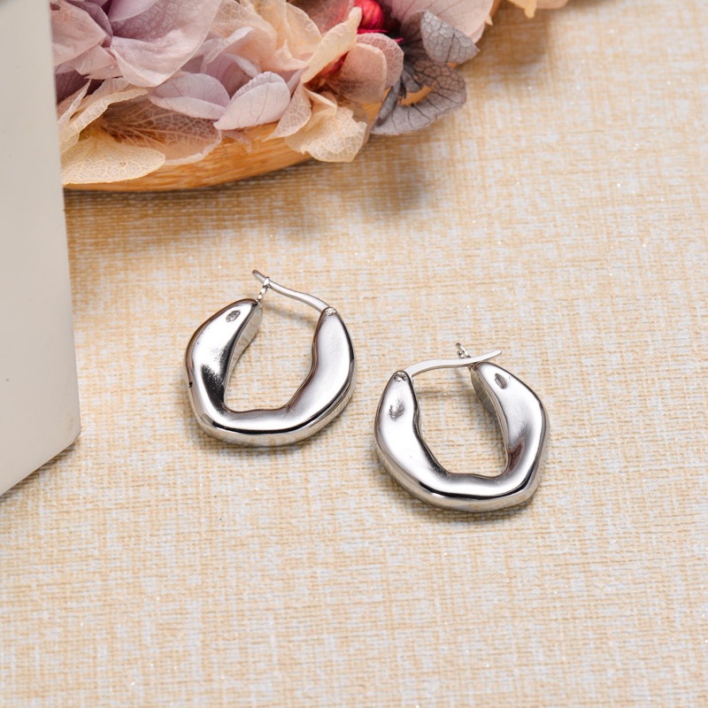 Stainless Steel French Style Hoop Earrings -SSEGG143-32850