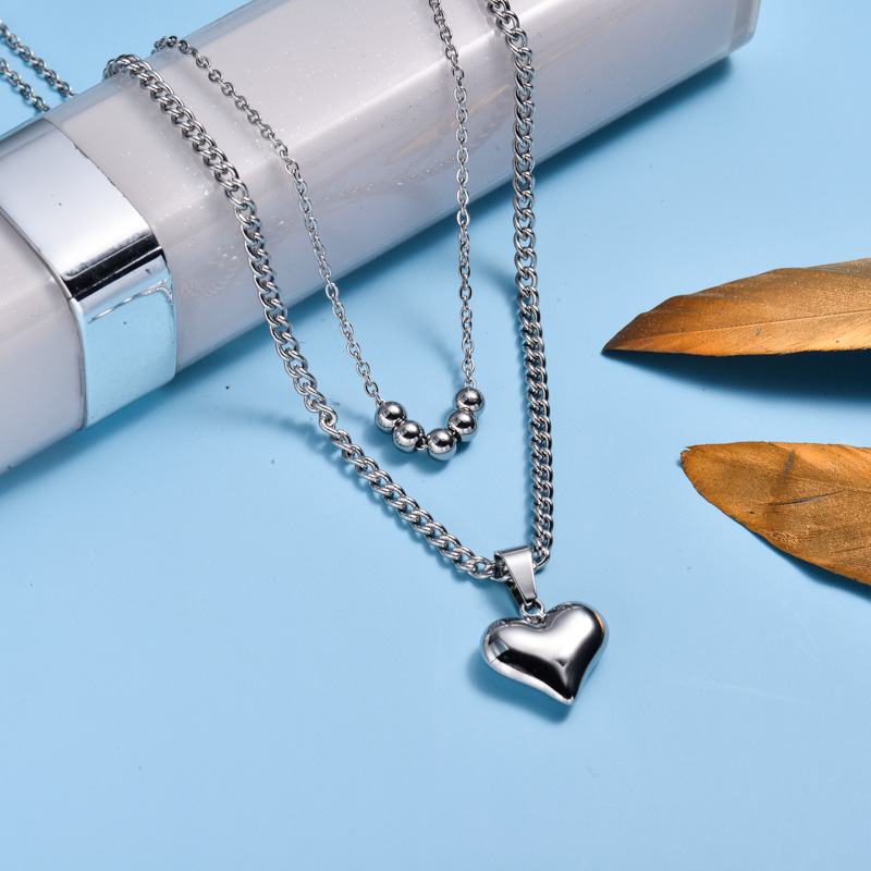 Stainless Steel Heart Layered Necklace -SSNEG143-33025