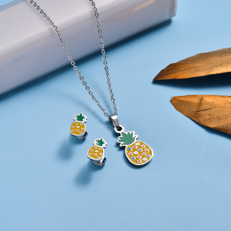 Stainless Steel Enamel Cute Jewelry Sets for Children -SSCSG143-33035