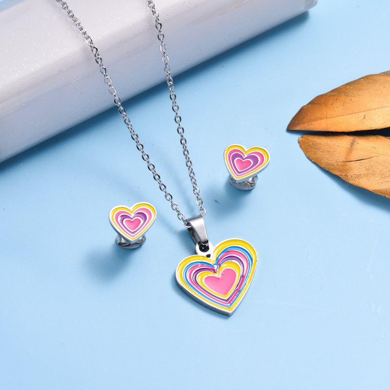 Stainless Steel Enamel Cute Jewelry Sets for Children -SSCSG143-33041