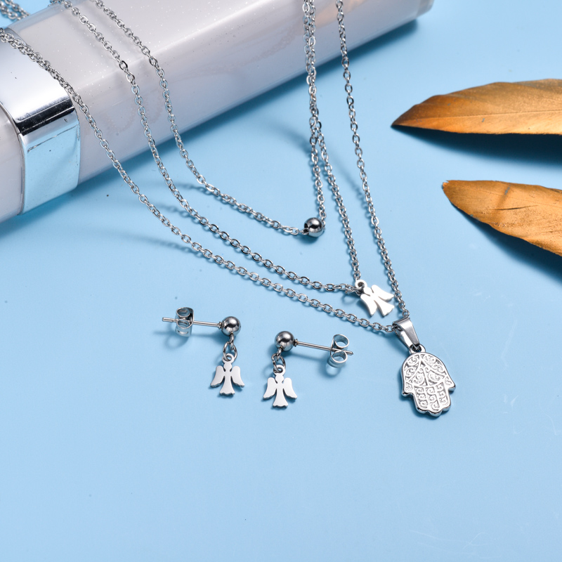 Stainless Steel Dainty Angle Hamsa Hand Layered Necklace  Sets-SSCSG143-32997