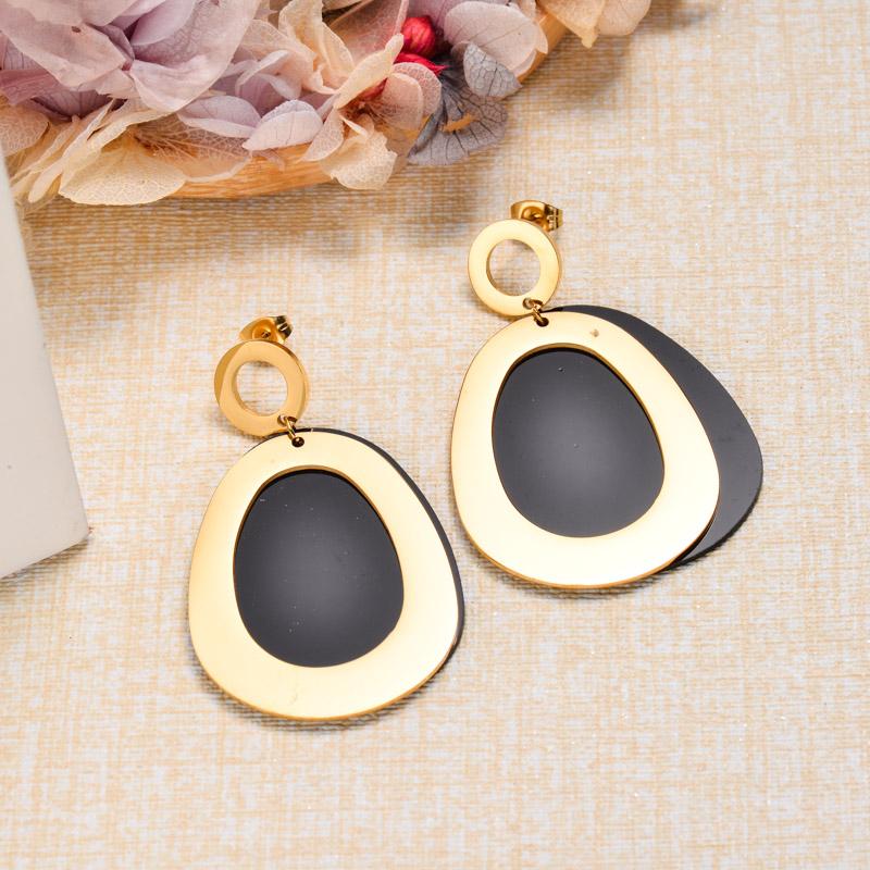 18k Gold Plated Black Drop Earrings -SSEGG143-32865