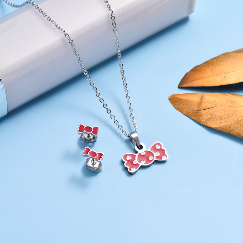 Stainless Steel Enamel Cute Jewelry Sets for Children -SSCSG143-33039