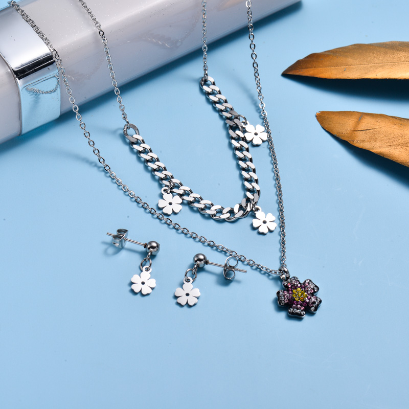 Stainless Steel Dainty Flower Layer Necklace Sets-SSCSG143-32998