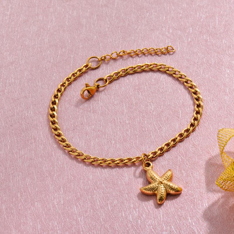 18k Gold Plated Beach Marine Charm Bracelets -SSBTG143-32784