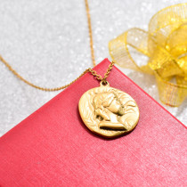 18k Gold Plated Medal Coin Pendant Necklace -SSNEG142-32734