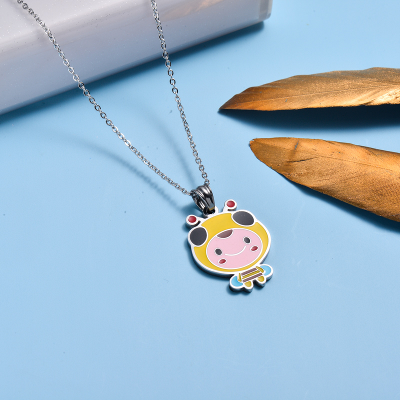 Stainless Steel Enamel Cute Pendant Necklace for Kids -SSNEG143-33028