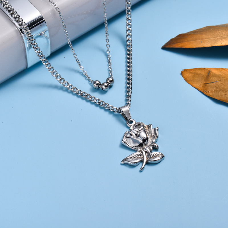 Stainless Steel Rose Layer Necklace -SSNEG143-33018