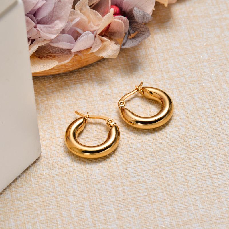 18k Gold Plated Tube Hoop Earrings -SSEGG143-32849